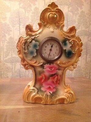 "Antique Ceramic Clock And Case 10X7X4"" For Restoration"