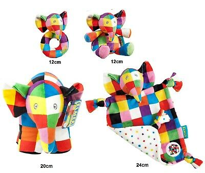 Elmer the Elephant Ring Rattle, Rattle, Comfort Blanket, Trumpeting Soft Toy