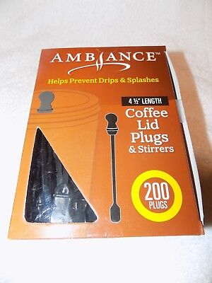 Coffee Cup Lid Stopper Sip Hole Plug Stirrer Black Pack of 200 Ambiance Brand US