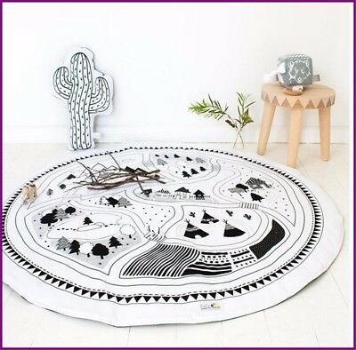 Crawling Blanket Cotton Home Padded Play Mat Round Racing Games Carpet Play Rug