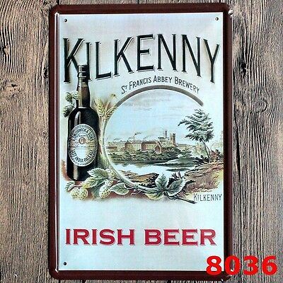 Metal Tin Sign kilkenny irish beer Bar Pub Vintage Retro Poster Cafe ART