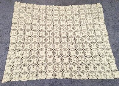 Ivory Handmade Snowflake Crochet Knitted Table Cloth Cover Throw Spread 65 X 77