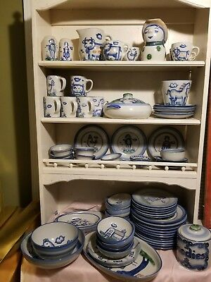 M.A. Hadley handcrafted pottery large set Country pattern 78 pieces!!!
