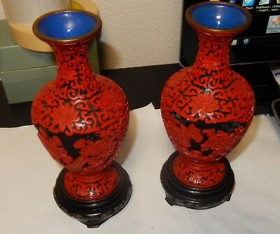 Pair Of Small Vintage Chinese Red And Black Cinnabar Floral Vases With Stands