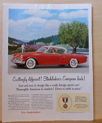1953 magazine ad for Studebaker - Commander hardtop, European design, low & racy