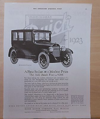 1922 magazine ad for 1923 Buick Four, A Fine Sedan at a Modest Price, closed car