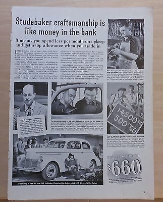 1940 magazine ad for Studebaker - Craftsmanship, Champion Club Sedan photo