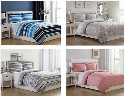 Essential Home Microfiber Comforter Set Patterns Stripes Twin Full Queen King