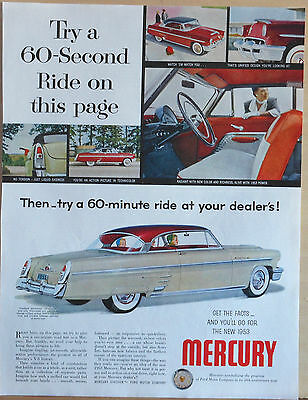 Vintage 1953 magazine ad for Mercury -  Try a 60 second ride on this page