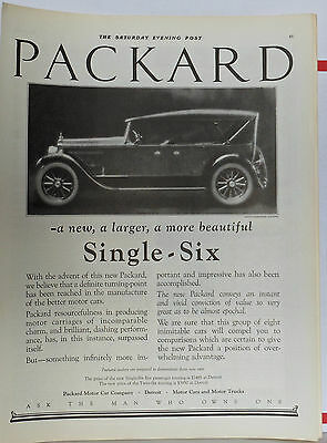 Vintage 1922 magazine ad for Packard - Single Six, larger & more beautiful