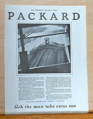 1921 magazine ad for Packard Trucks - Simple & Strong design, economical machine