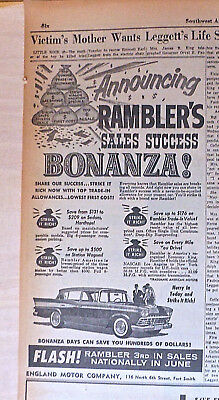 1959 newspaper ad for Rambler - Sales Success Bonanza, Hurry In Today
