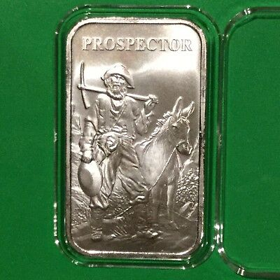 Prospector & Donkey Collectible Bar 1 Troy Oz .999 Fine Silver Ingot Medal Round