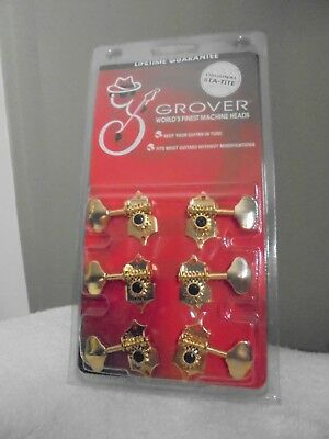 Grover Sta-Tite acoustic guitar tuners 3R 3L Gold finish – NEW FREE DEL