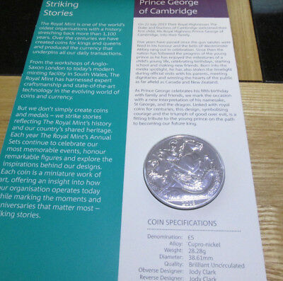 UK 2018 Royal Mint BUNC £5 FIVE POUND COIN PRINCE GEORGE OF CAMBRIDGE 5TH BIRTHD