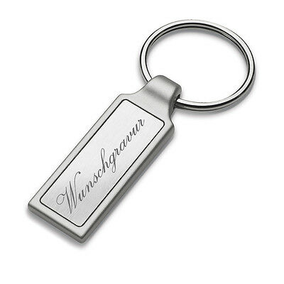 Keychain Oval with Shiny Silver Inlay Made of Metal Incl. Engraving