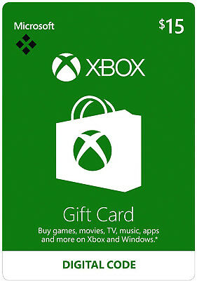$15 USD Xbox Live Card - 15 US Dollar Microsoft Prepaid Code 360 One - USA