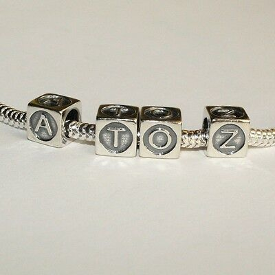 LETTERS-Alphabet-Cube-A-XOXO-Kiss- Solid 925 sterling silver European charm bead