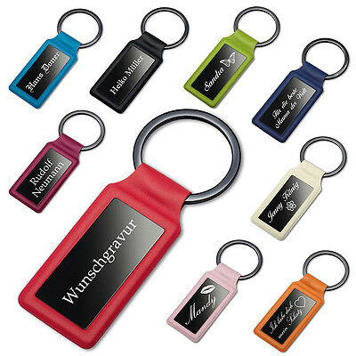 Keychain Faux Leather and Metal in 9 Colors incl. Engraving