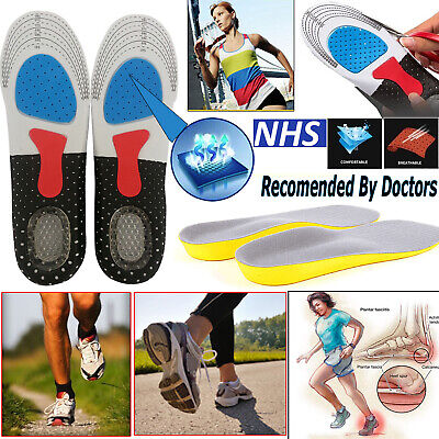 Orthotic Work Boots Foot Arch Support Heel Shoe Inserts Gel Massaging Insoles Uk