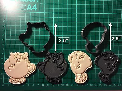 Tea pot set Mrs Potts Chip Beauty And The Beast Cookie Cutter Cup cake size UK