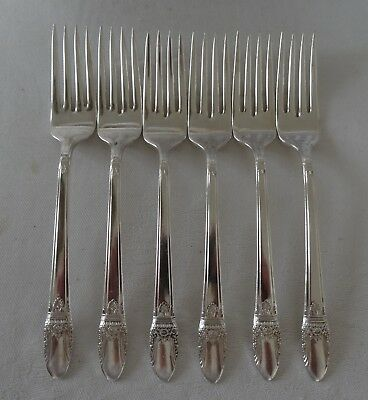 Silverplate FIRST LOVE 1847 Rogers Lot of 6 LUNCH FORK