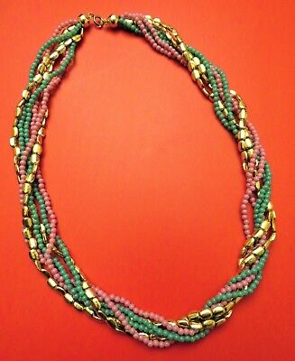 Vintage Handmade Twisted Multiple Strand Purple Green Gold Color Beaded Necklace