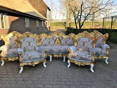 Antique Sofa/settee/couch With 4 Chairs In Baroque Style.worldwide Shipping