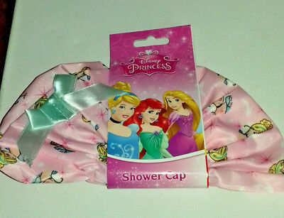 SHOWER CAP DISNEY PRINCESS MAINLY PINK with BLONDE PRINCESS on BLUE/ GREEN BOW