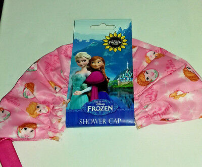 SHOWER CAP DISNEY FROZEN ELSA & ANNA MAINLY PINK with the SISTERS on PINK BOW
