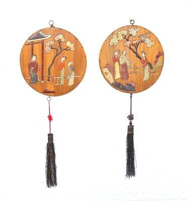 Chinese 19thC Qing Dynasty Pair Hardstone Round Panels