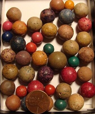 50 Beautiful Vintage Antique Old Time Clay Marbles Red Blue Green Pink Sweet Lot