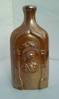 "Unusual Large Size Salt glazed Reform Flask ""Queen Victoria & Duchess of Kent"""