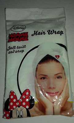 HAIR WRAP WHITE Disney MINNIE MOUSE  JUST TWIST& WRAP SHOWER BATHING after SWIM