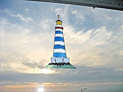Stained Glass handmade lighthouse Sun-catcher / window decoration