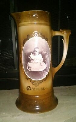 "Rare Antique 12"" Pitcher Tankard with Baby Portrait under the glaze ""Gertrude"""
