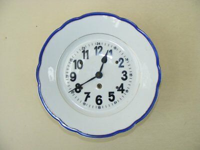Beautiful Old Kitchen Clock, Porcelain Wall 30er 40er Years Mechanical Watch