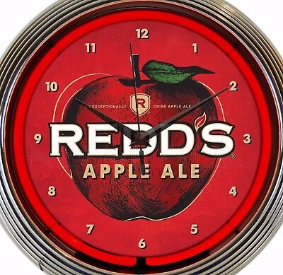 Redd's Apple Ale Neon Wall Clock Office Game Room Garage 15 Inch Red White Green
