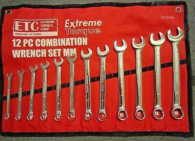 Six Point 6 Metric 12 pc Combination Wrench Set Extreme Torque ETC 8 to 19mm MM