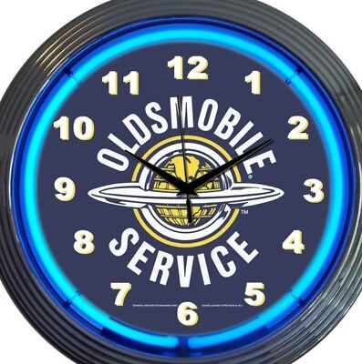 Oldsmobile Automobile Service Neon Clock 15 Inch Diameter Blue Game Room Bar