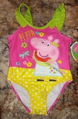 Girls Size 3T Peppa Pig Multi-Color 1-Piece Swimsuit UPF 50+ NWT