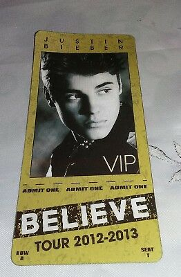 Justin Bieber Believe 2012-2013 Tour VIP Pass Excellent Condition
