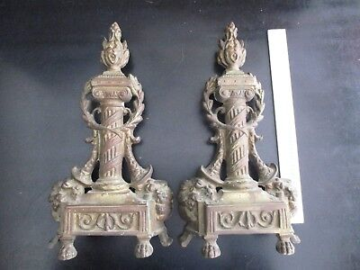 Pair Of Vintage French Pillar Style Footed Andirons