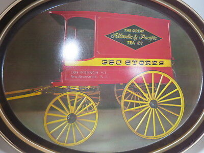 "Great Atlantic Pacific Tea Co A&P Metal 15"" Serving Tray Oval Delivery Carriage"
