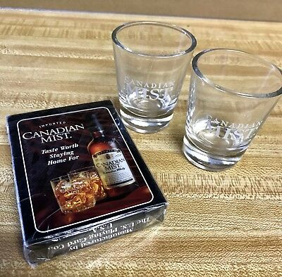 CANADIAN MIST PLAYING CARDS NIB From 1998 Advertising and set of 2 CM shot glass