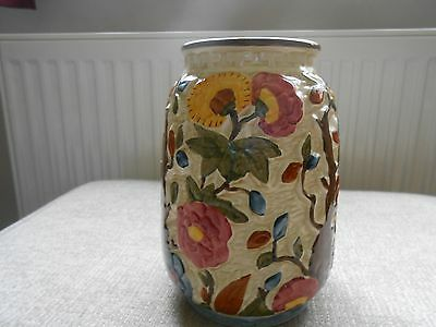 H J Wood Indian Tree floral handpainted vase 7 inches tall
