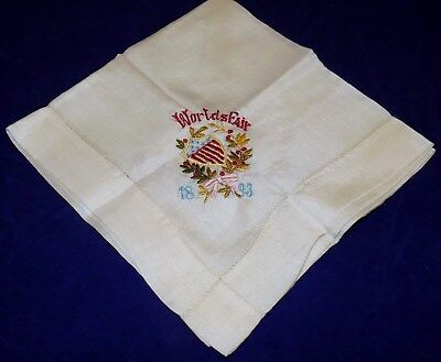 1893 World's Fair Silk Handkerchief Embroidered with Name