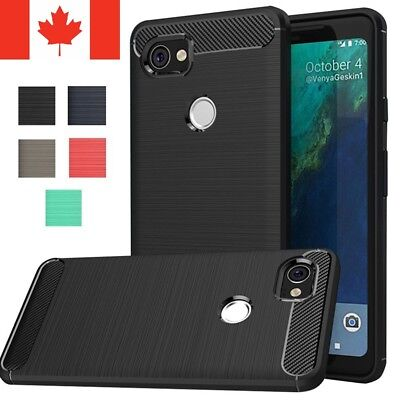 For Google Pixel 2 XL Case - Protective Shockproof Carbon Fiber Soft TPU Cover