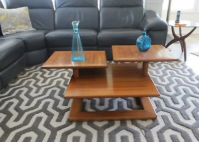 Vtg. Mid Century Modern 3 Tier EXPANDABLE Extending SWIVEL ARM Oak COFFEE TABLE