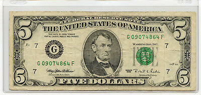 1995 Series $5 Bill American Currency Five Dollar Federal Reserve Note USA FRN B